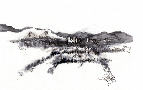 Tank Hill View, San Francisco   pen and ink sketch by Rosa Phoenix