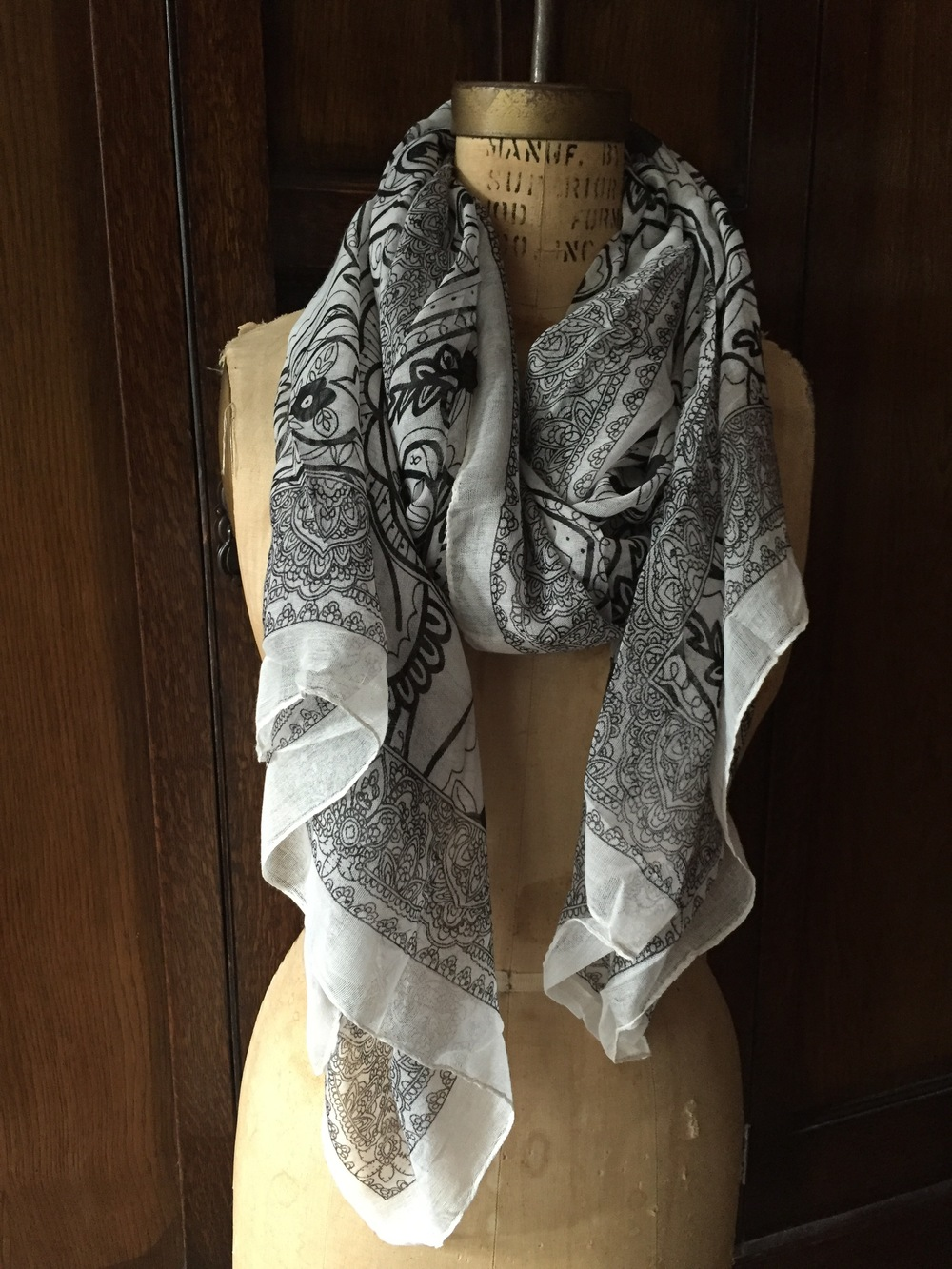 Luxe White Floral Scarf