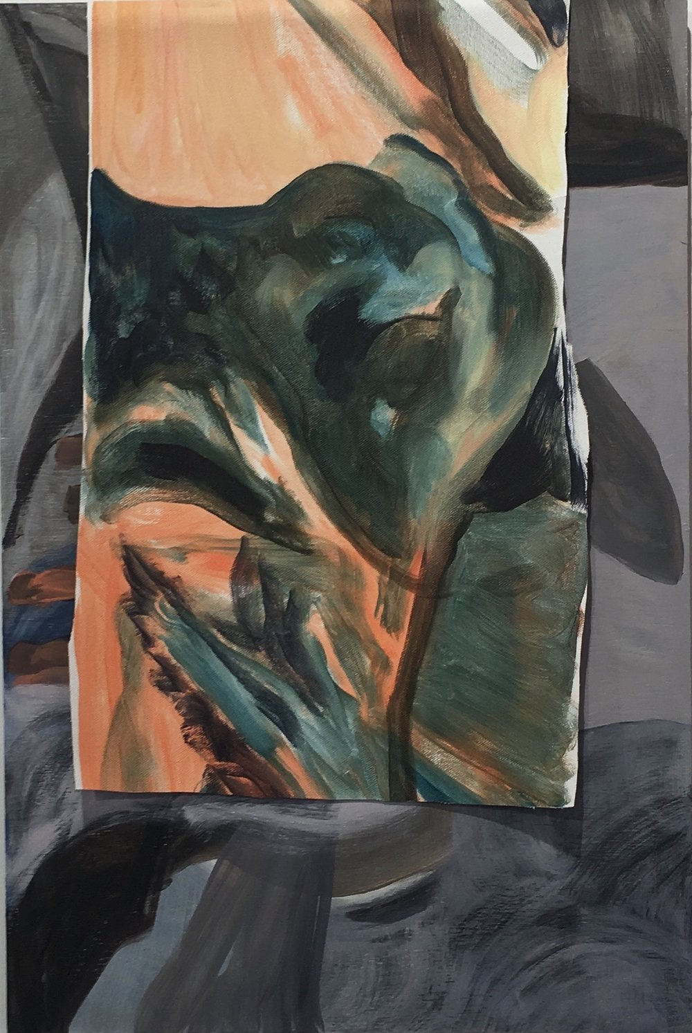 Untitled (Landscape Layer), Oil on Canvas layered on Oil on Board,  40 x 60 cm