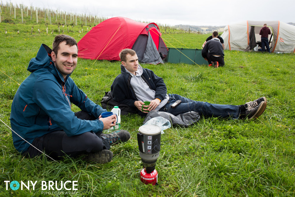 Some competitors having a brew after setting their tents up.