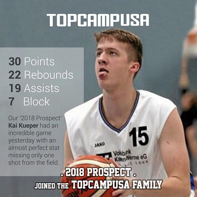 Our '2018 Prospect' @kai_nr.15 from Germany had an incredible game yesterday with an almost perfect stat missing only one shot from the field. Congratulations Kai! #topcampusa #basketball #workhardplayhard