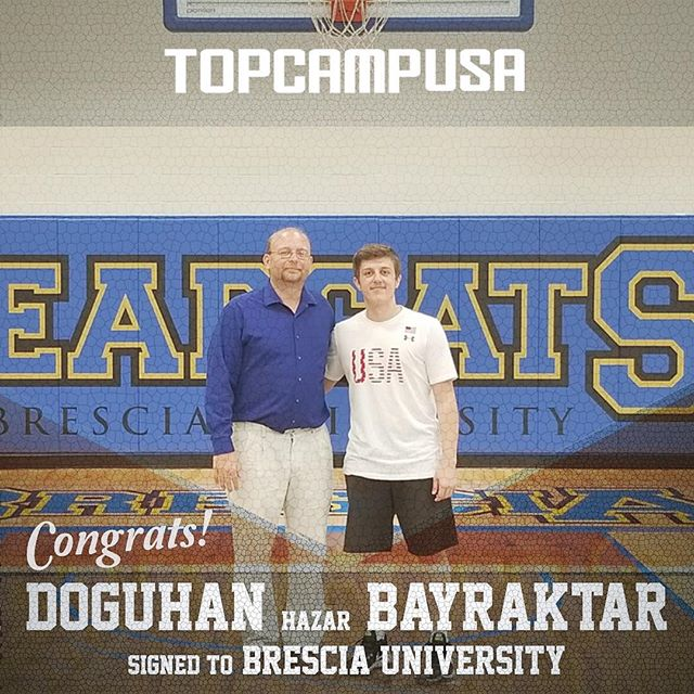 Congratulations to @2.db.7 on signing to Brescia University (Doğuhan with his Brescia Coach, Brian Skortz). We are a proud #topcampusa family. #theprocess from Sakarya to Kentucky... #workhardplayhard