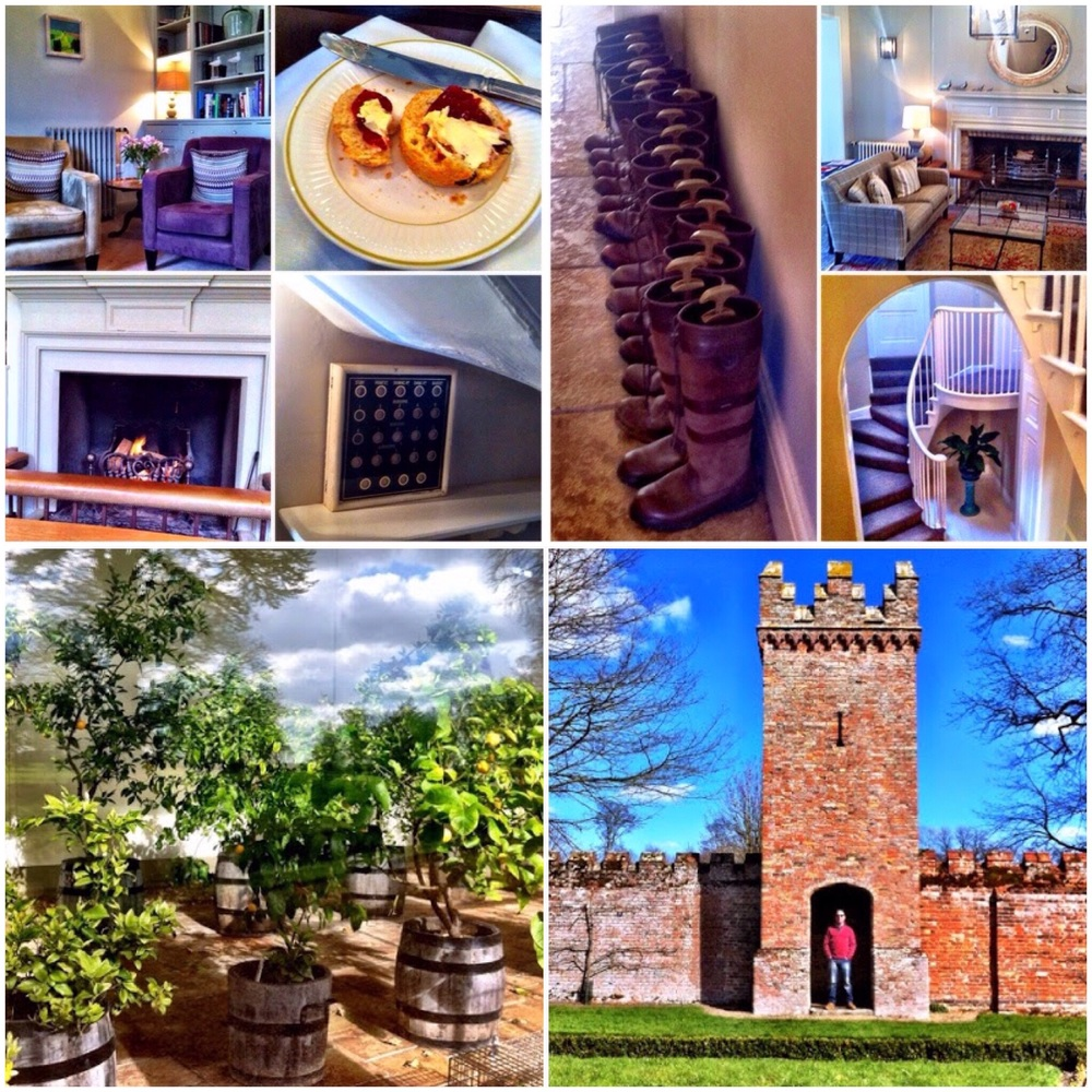 Clockwise: Staying at Congham Hall, Oxburgh Hall and the Orangery at Blickling Estate