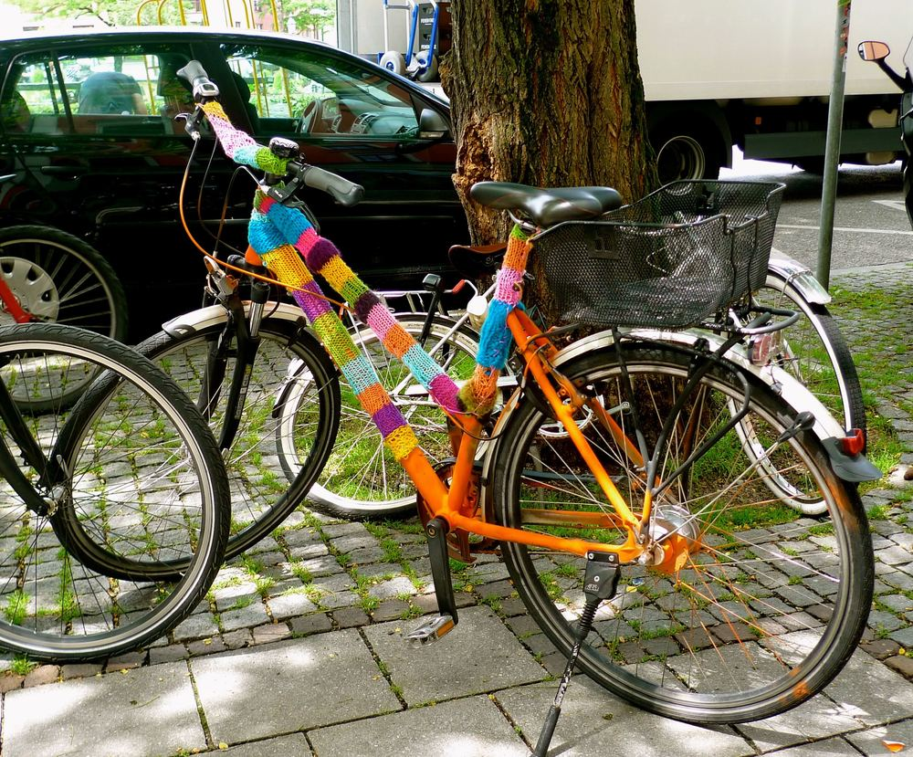 NOT MY HIRE BIKE BUT A YARN-BOMBED BIKE IN MUNICH