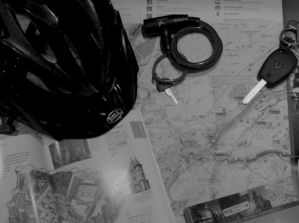maps car key or cycling helmet
