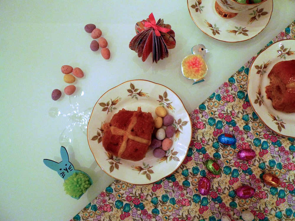 easter bunnies & hot cross buns