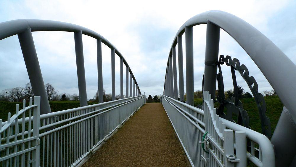 heading across the bridge