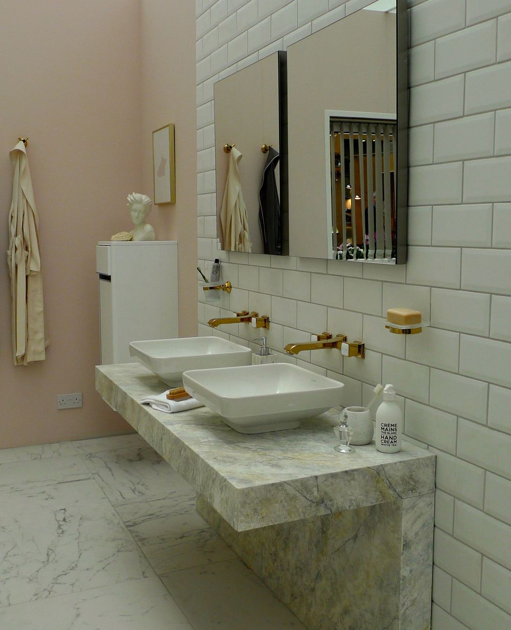 two sinks marble and mirrors