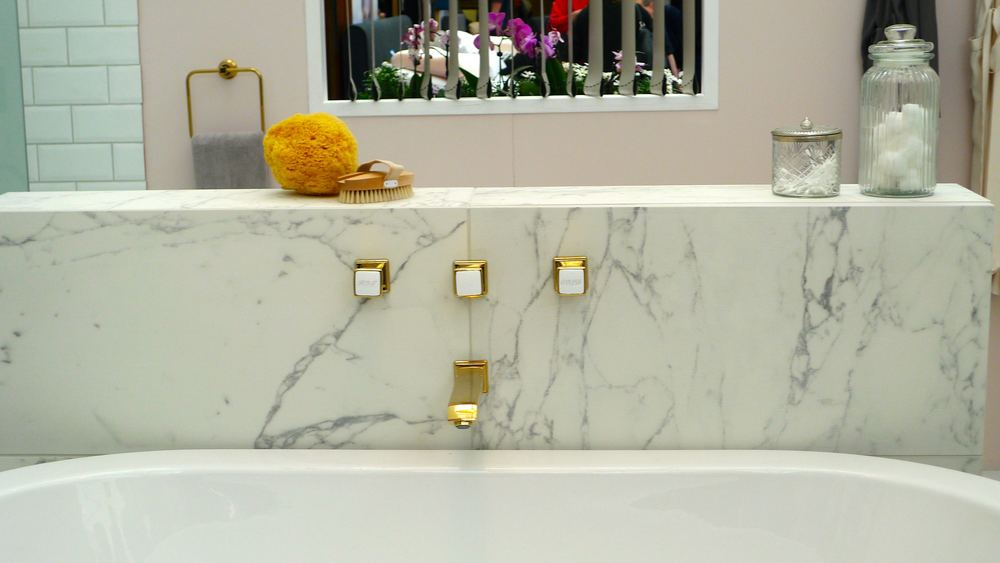 bath taps and marble