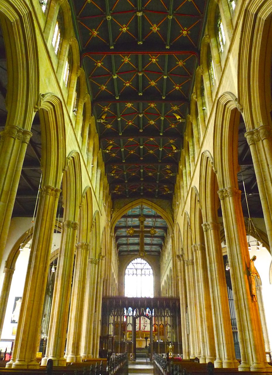 This view of St Mary Magdalene in Newark on Trent looks toward the Nave and shows how grand this parish church is
