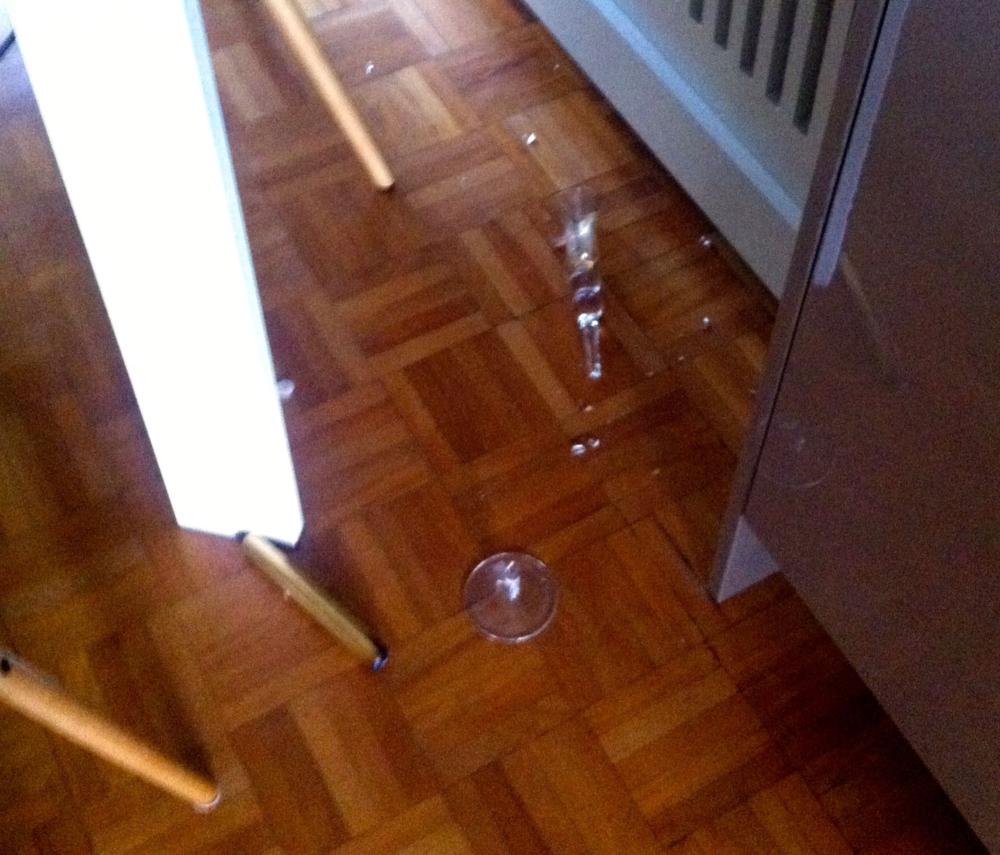 A broken glass candelstick