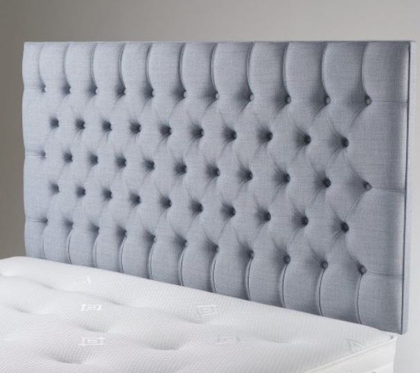 PEARL TUFTED DEEP BUTTONED FAUX LINEN HEADBOARD Photo credit: Carpetright