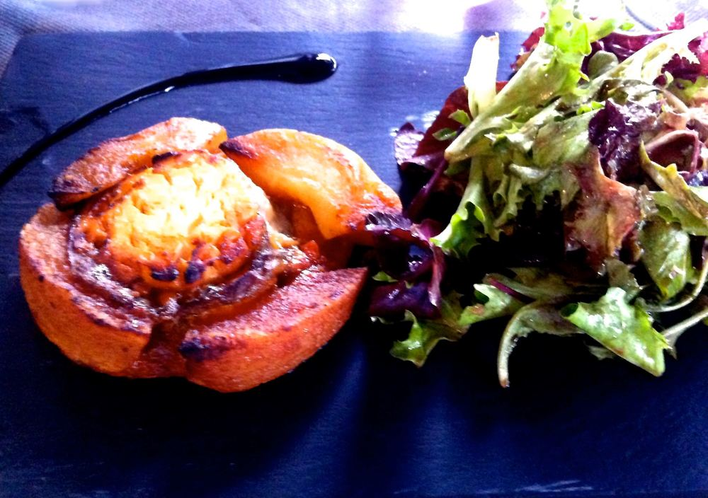 GOATS CHEESE APPLE TATIN AND A HUGE PILE OF LETTUCE