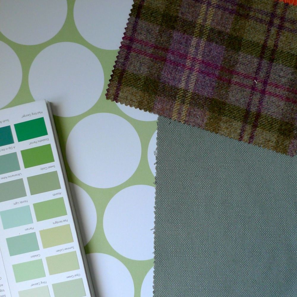 A PATTERNED BACKGROUND WITH A GREEN PAINT CHART AND WHITEWELL AND HOLYROOD