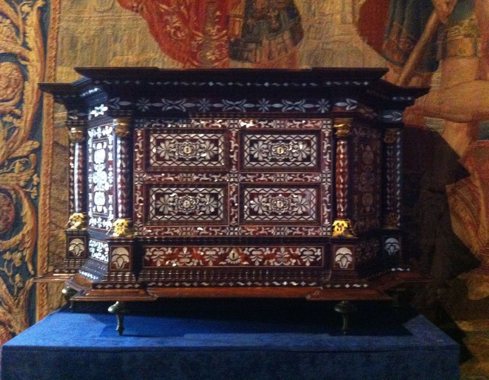 A intricately detailed chest inlaid with mother of pearl