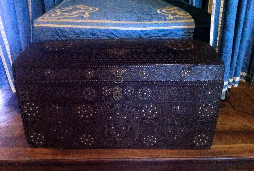 An ornate leather studded chest