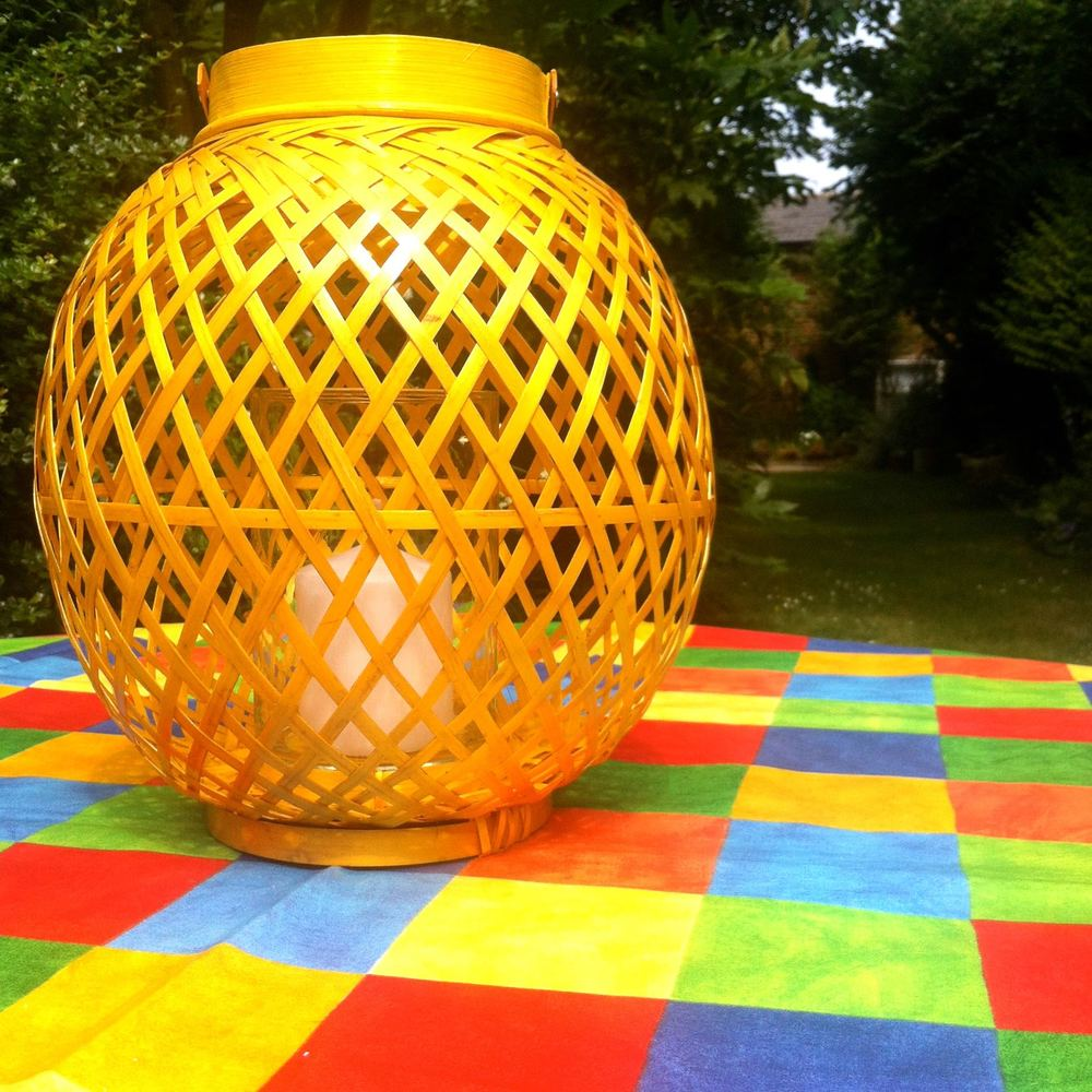 A colourful garden table