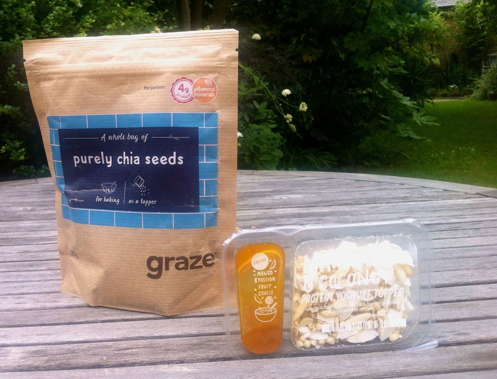 Graze chia seeds and mango and coconut topper