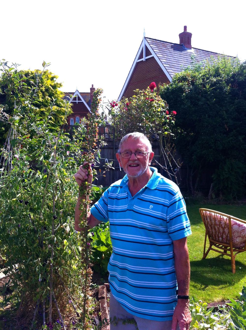 Dad with his giant - well very tall at least - foxgloves