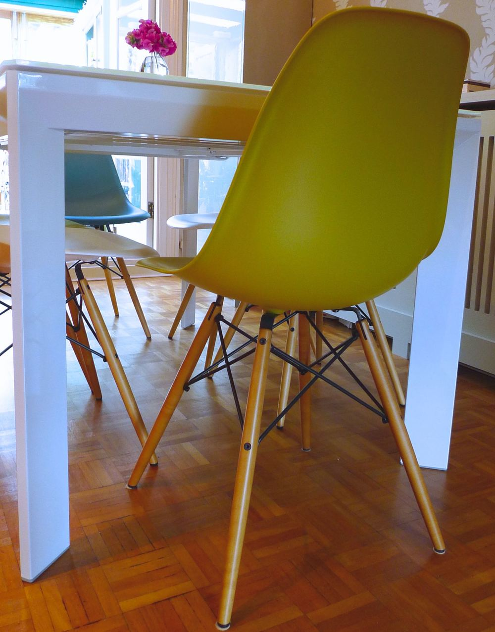 mustard eames chair