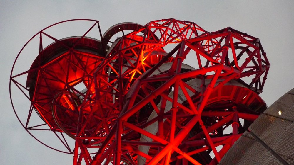 ArcellorMittal Orbit lit up at night