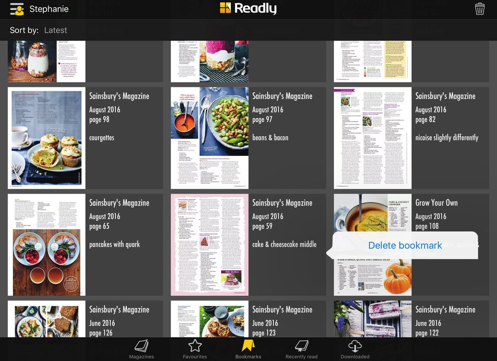 Discovering how to delete a bookmark in Readly