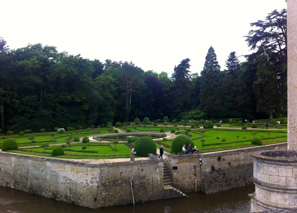 catherine de medicis garden viewed from the chateau