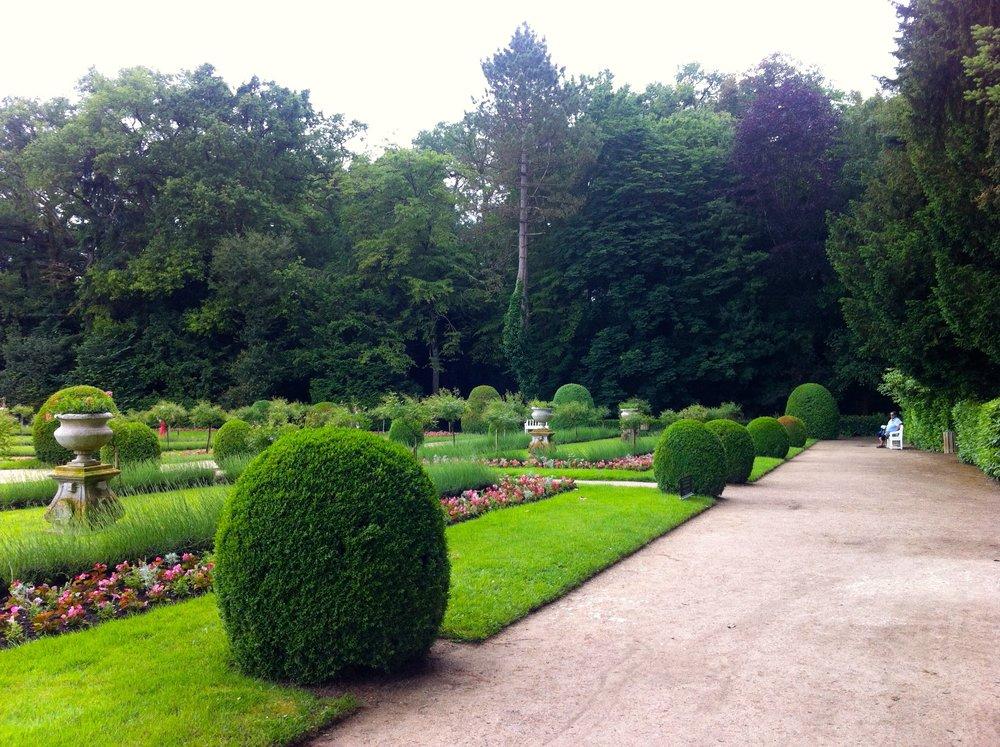 a wide path encases the garden