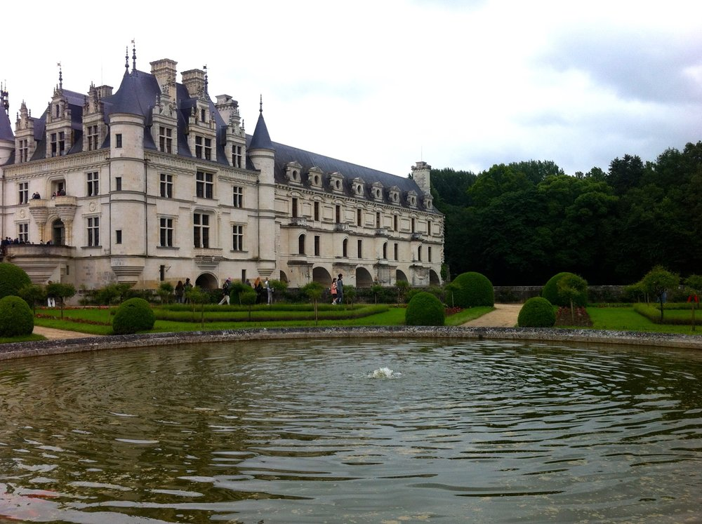 A central pond looking over towards the chateau