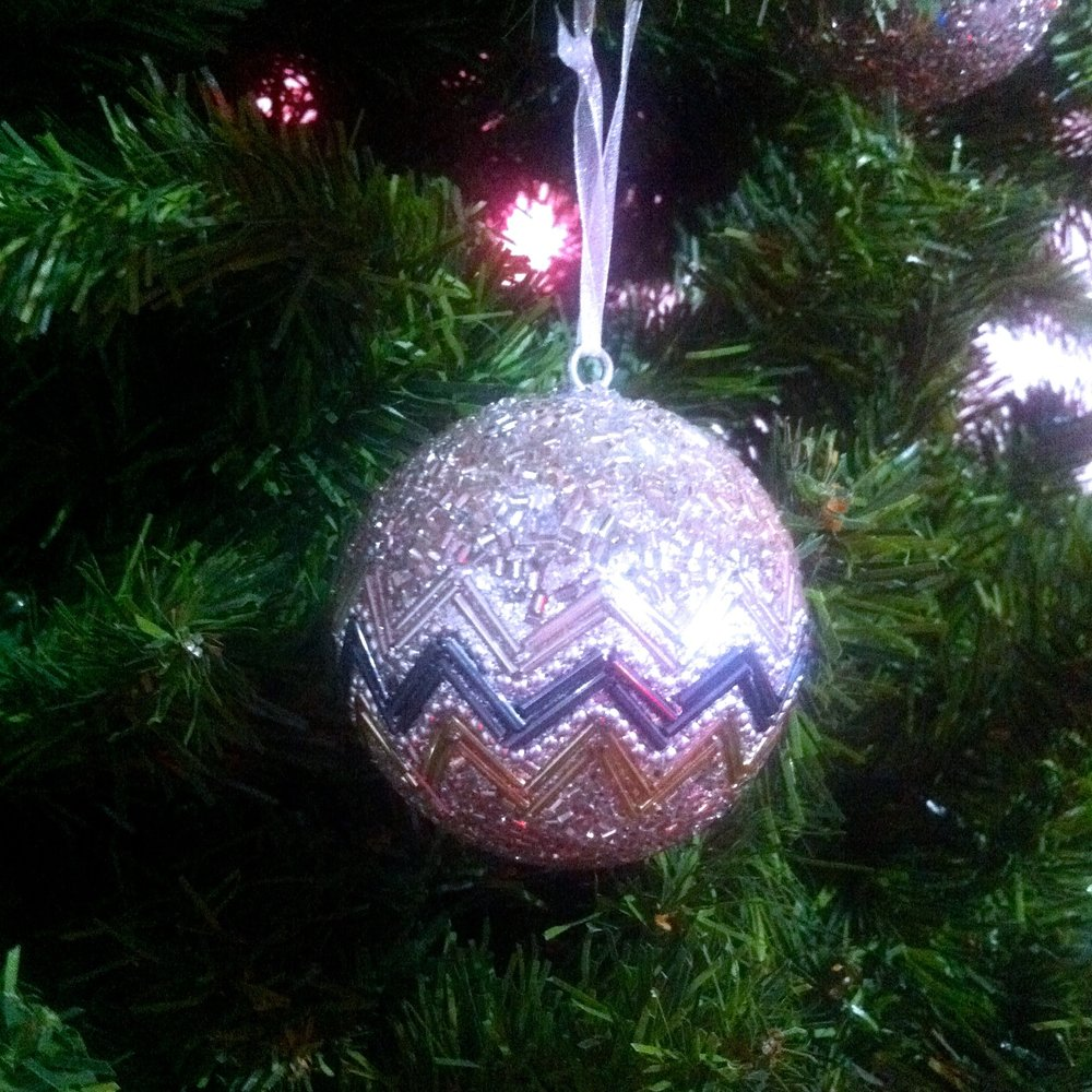 A beaded christmas bauble