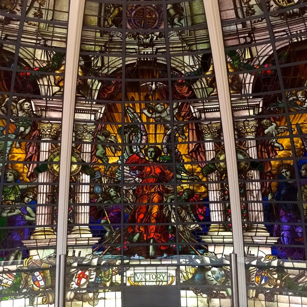 Stained glass from the Baltic Exchange at the NMM in Greenwich
