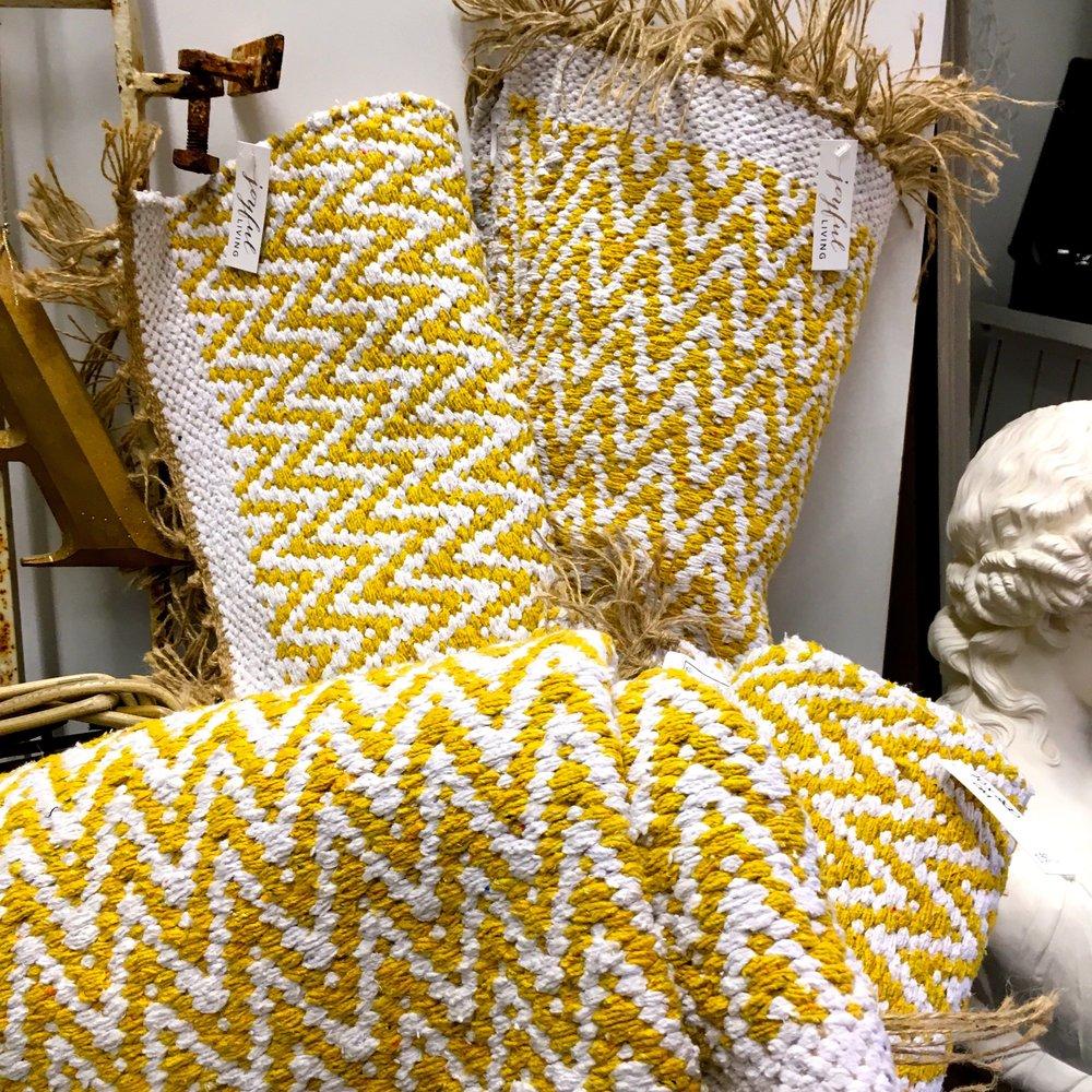 Yellow zig zag rugs