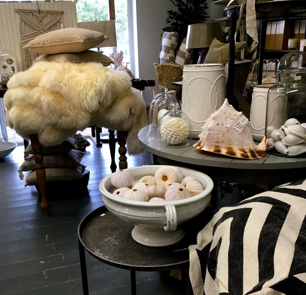 Cushions and fluffy throws, shells and chevrons