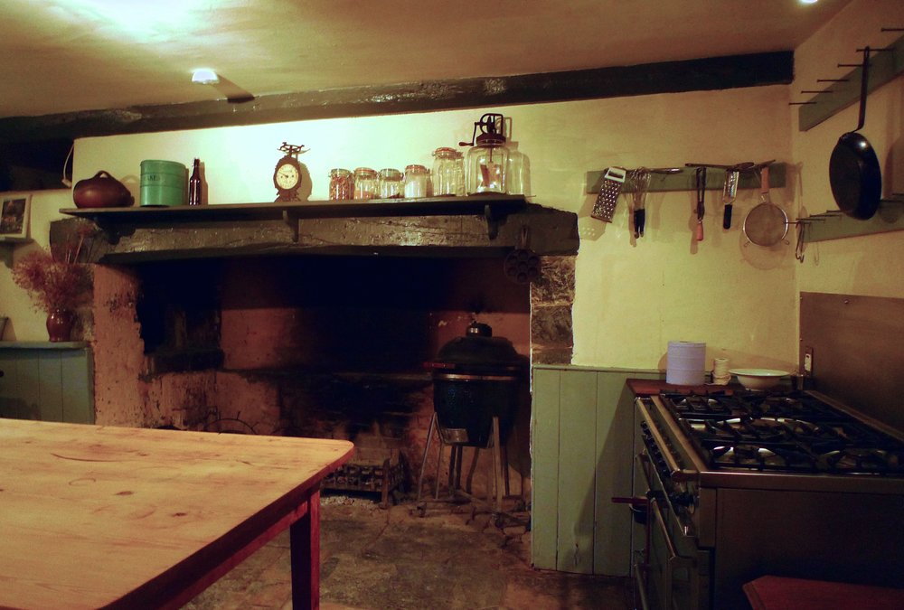 In Hugh's kitchen - which looks just like it does on the TV - in the farmhouse at River Cottage HQ