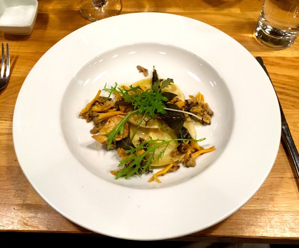 CELERIAC RAVIOLI WITH WILD MUSHROOMS AND LEAVES