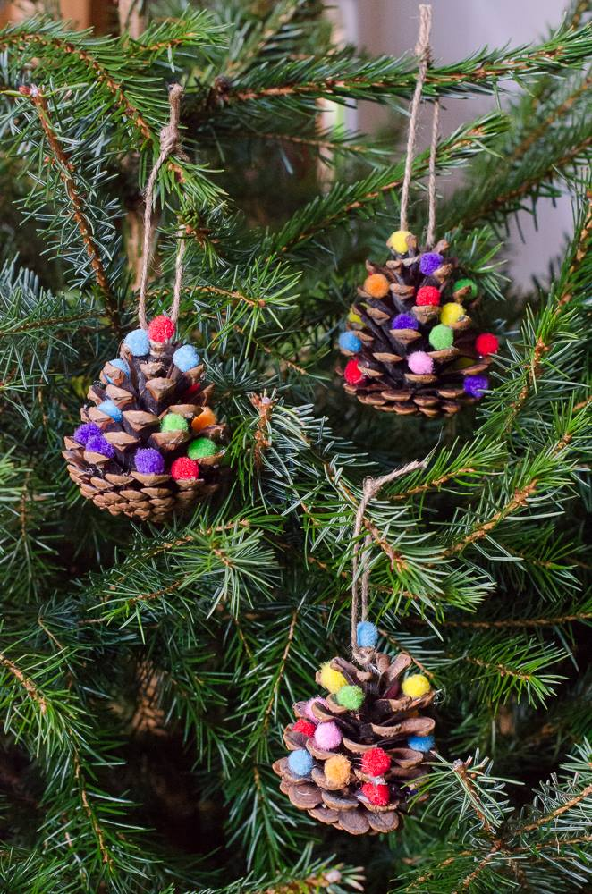 Easy to make pine cone tree decorations