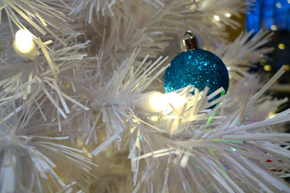 baubles nestling among the LED lights
