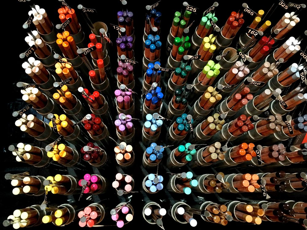 pencils in every colour of the rainbow at the london graphic centre