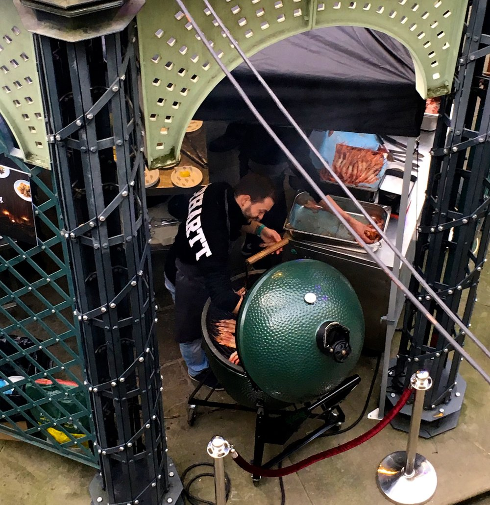Where else would you put a barbecue in London's Tobacco Dock, under the ironwork dome of course