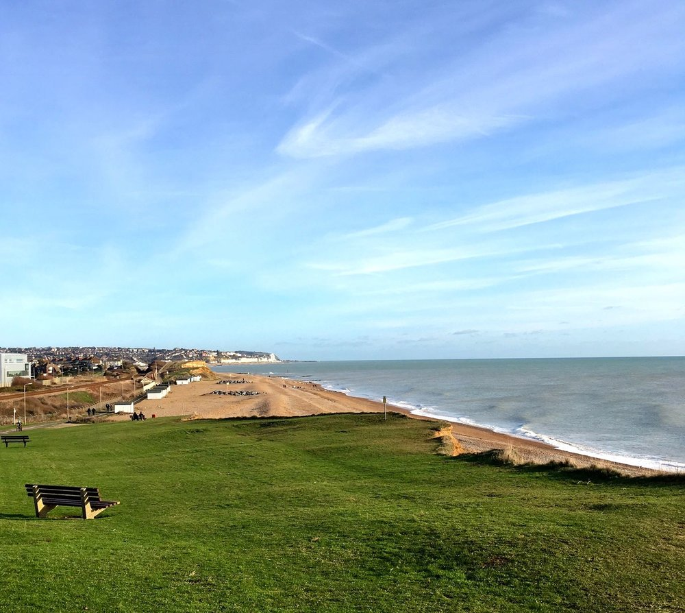 LOOKING BACK TOWARDS HASTINGS AS WE PAUSED ON OUR BOXING DAY BIKE RIDE