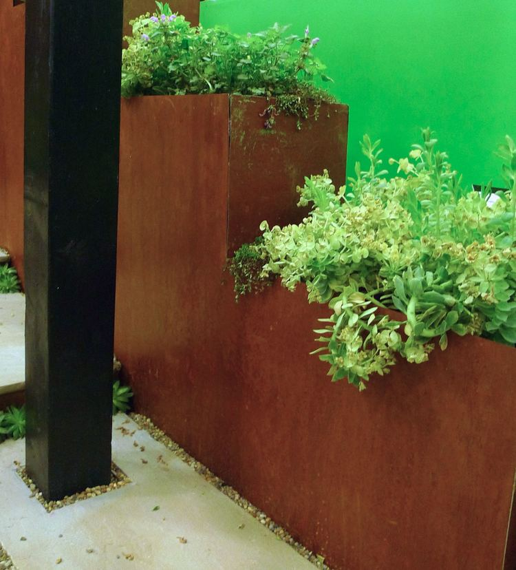 Corten steel planters at the Ideal Home Show