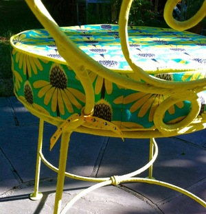 A peek at my restored metal garden chairs and the cushions I made for them