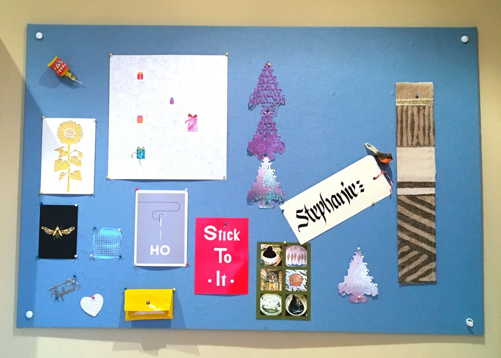 On my noticeboard - December - in my craft room