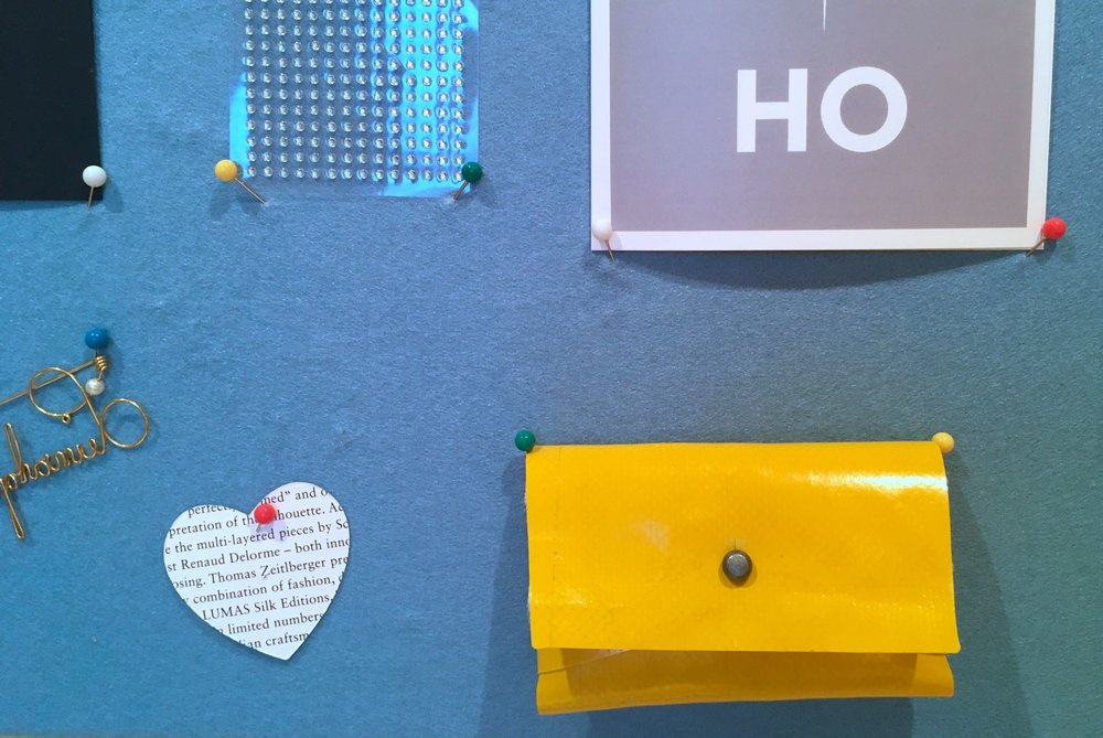 frietag pouch and a heart - on my noticeboard in December