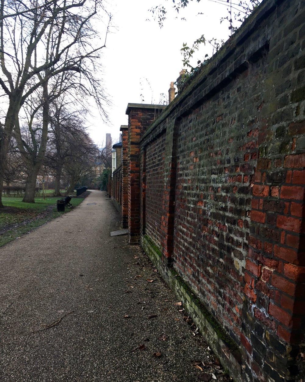 A boundary wall inside Greenwich Park