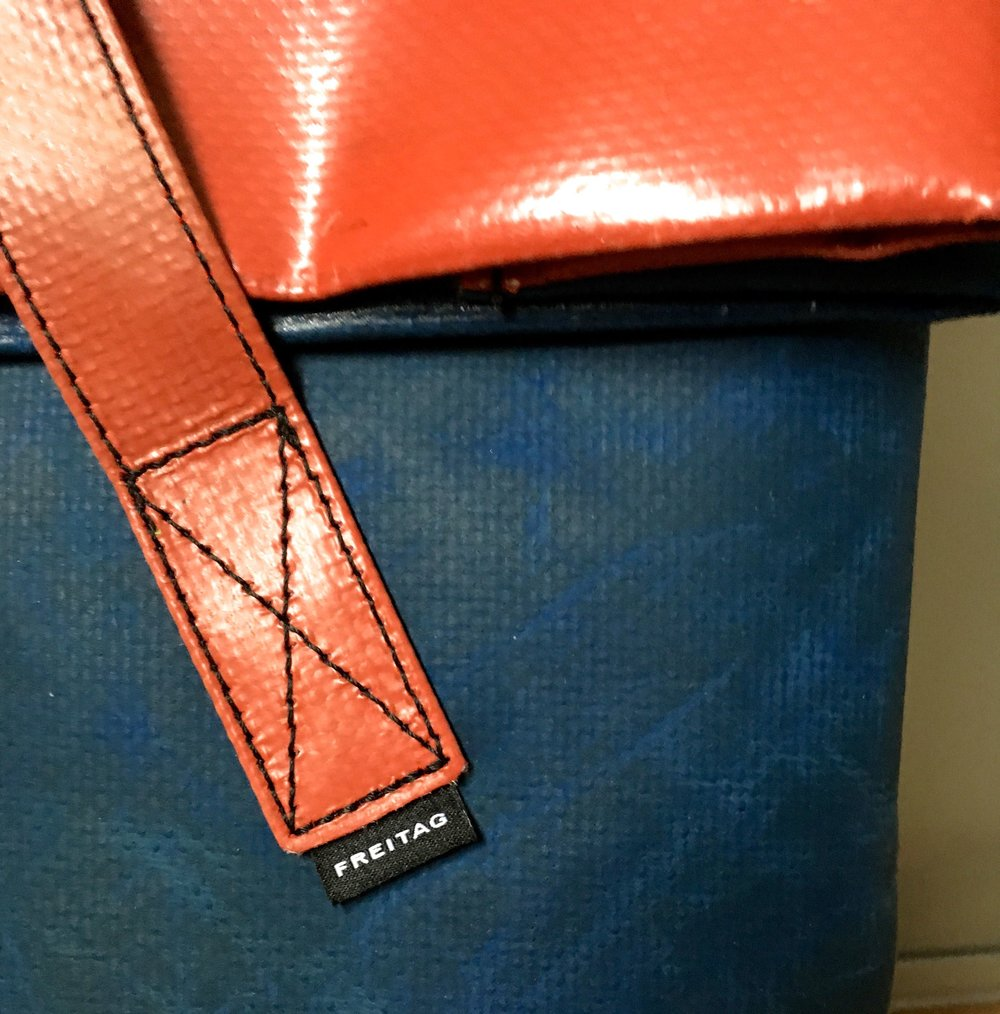 Details of the strap on my Freitag bag made from tarpaulin