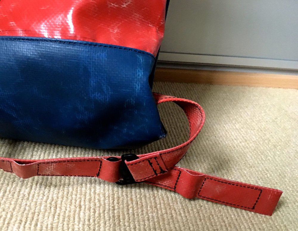shoulder straps on my Freitag bag made from tarpaulin