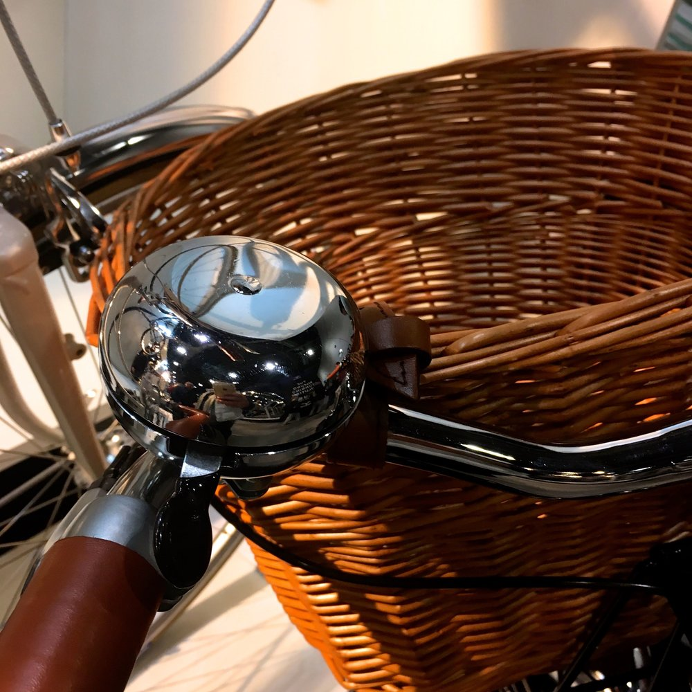 A Pashley bike complete with the all important wicker basket at the London Bike Show