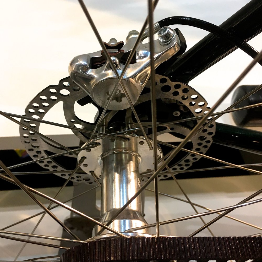 A close up of the disc brakes at the London Bike Show