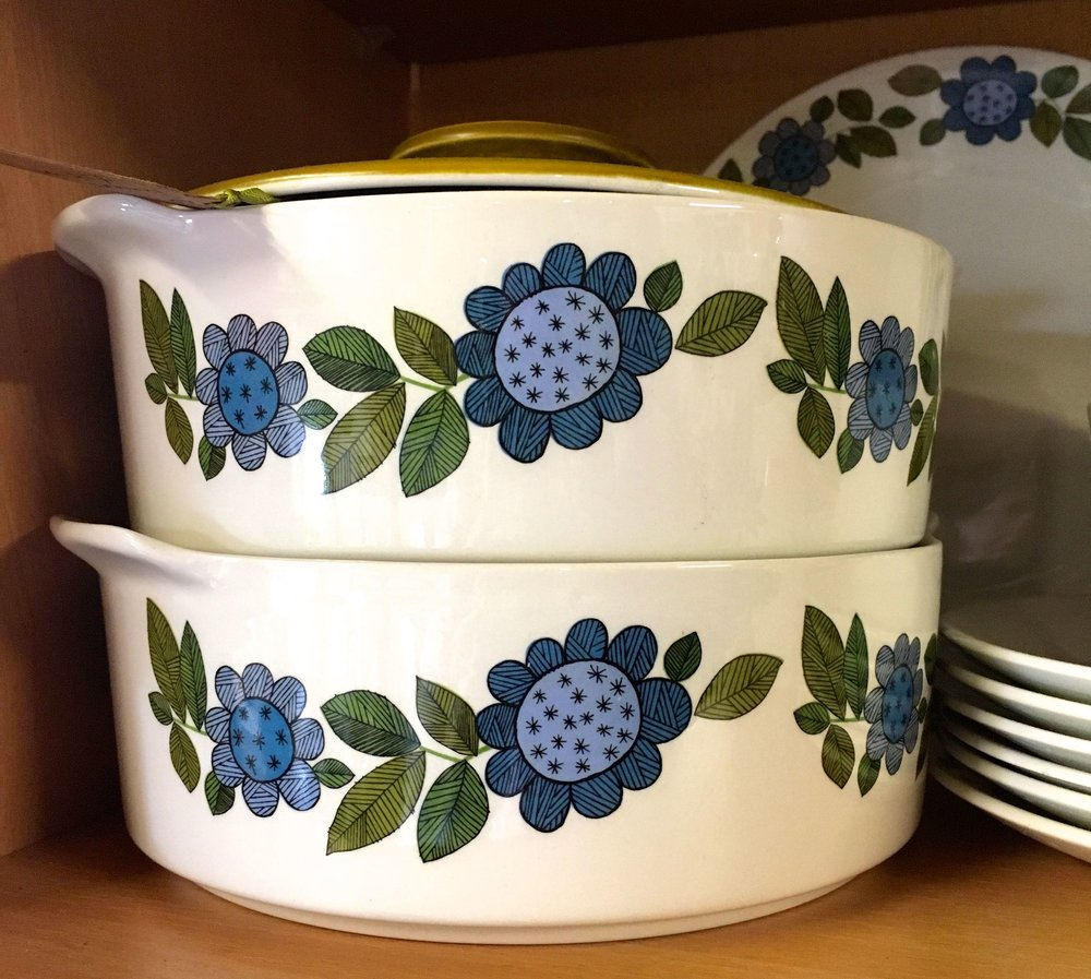 blue patterned serving bowls